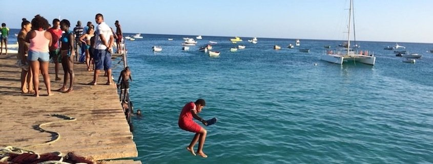 jetty jumping in Santa Maria, Sal, Cape Verde