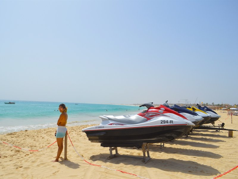 Jet skis on Santa Maria beach Sal Cape Verde