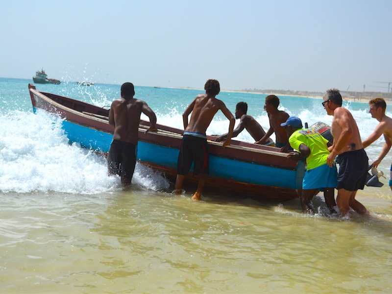 Boat launched at Santa Maria Sal Cape Verde