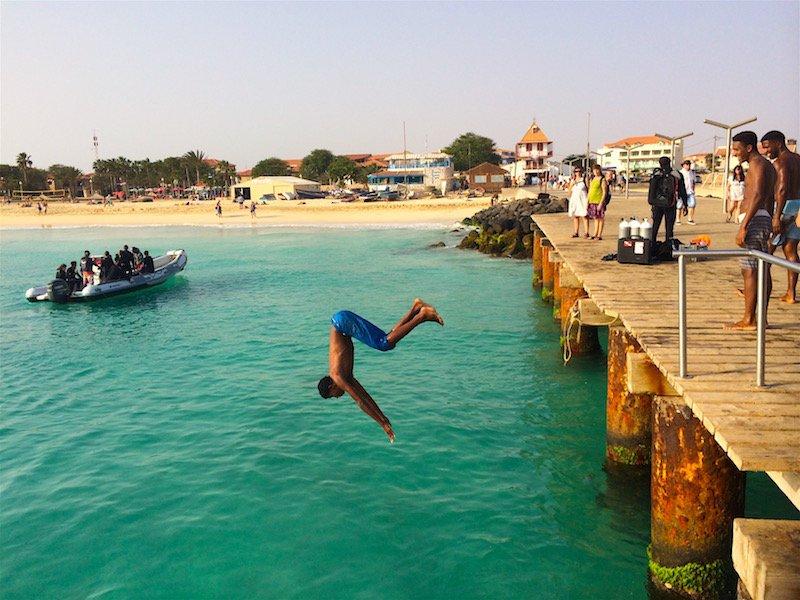 Pier jumping Santa Maria Sal Cape Verde