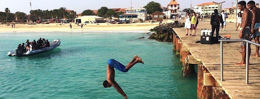 Pier jumping in Santa Maria, Sal, Cape Verde