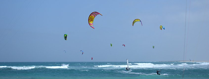 Kite surfing on Sal, Cape Verde