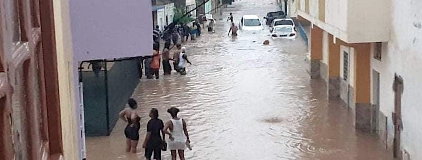 Flooded streets in Praia after rain